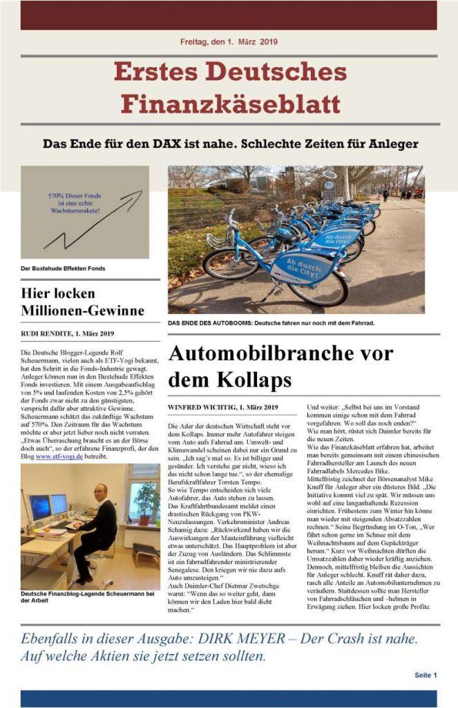 Erstes Deutsches Finanzkäseblatt - Finanzpornografie bzw. Investmentpornografieat its best.